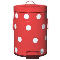 R$ 184,50 Lixeira de metal com pedal vermelha e branca 5 litros - Utensílios Domésticos / Utilplast - Utilplast