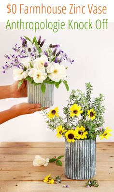 """Anthropologie knock off beautiful DIY """"galvanized zinc"""" vase using a secret FREE material! Easy faux aged metal look perfect for farmhouse & vintage decor! - A Piece of Rainbow Diy Crafts To Do, Cute Crafts, Diy Projects To Try, Flower Vases, Flower Pots, Style Salon, Wedding Table Centerpieces, Centerpiece Ideas, Cardboard Crafts"""