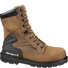 Carhartt Bison Brown Waterproof Steel Toe Work Boots for Men - Bison/Brown - Workwear Store, Good Work Boots, Finger, Steel Toe Work Boots, Rugged Style, Style Men, Waterproof Boots, Clothing Items, Brown Leather