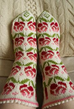 Roses Socks.  Very similar to the motifs on that gorgeous baby dress Leah made for display at Inua Wool Shop.
