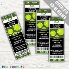 Tennis birthday party invitations with a ticket design. Each invitation measures approximately 2 by 6. It is recommended that you print the invitations onto heavyweight card stock for a more professional finish (PDF prints four invitations to an A4 page). EDITING YOUR PDF To help