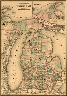 Michigan State 1876 by Colton -  Gray Historic Map. A wide and growing selection of inexpensive reprints of rare Historic Maps are available from Hearthstone Legacy Publications at: http://www.hearthstonelegacy.com/Historic-Map-Reprints.htm