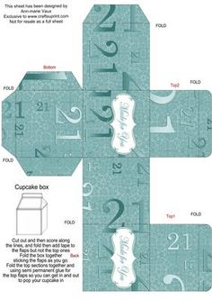 Dusky Teal Age 21 Single Cupcake Presentation Box on Craftsuprint - Add To Basket!