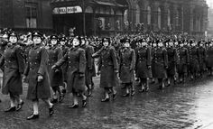 Woman's Auxiliary Air Force in parade, circa 1943 - The Betty H. Carter Women Veterans Historical Project - University Archives - UNCG University Libraries