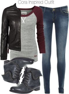Superdry top, $73 / MuuBaa flight jacket, $660 / Blue jeans, $45 / Barratts black boots, $65