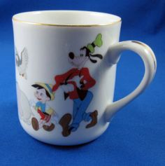 Walt Disney on Parade Vintage Coffee Mug Mickey Dumbo Pluto Donald Goofy Japan