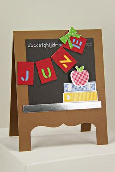 Procrastination Station: Back To School Card.  I like the way she turned the card into an easel.