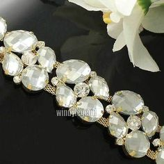 1yds Glass Rhinestone Resin Crystal Gold Charming Chain Dress Costume Applique