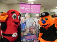 Scooch and the Kidney Foundation Mascot with A National Kidney Foundation sign!