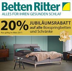 85 Jahre gesunder Schlaf mit Betten Ritter - Unser Jubiläumsangebot im März: 20% auf alle Boxspringbetten und Schränke!  https://www.bettenritter.com/Jubilaeumsangebot-Maerz-20-Boxspringbetten