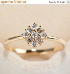 SALE Diamond Cluster Ring Engagement Ring Yellow Gold Princess Cut Stackable Unique Baguette Bridal Alternative Dainty Anniversary Promise by RingOnly on Etsy https://www.etsy.com/listing/500657861/sale-diamond-cluster-ring-engagement