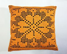 Almofada Crochê Laranja - 40x40cm | casame - arte e decoração | Elo7