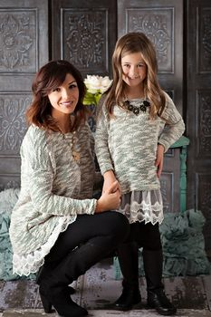 Girls Knit and Lace Sweater Dress Black - Ryleigh Rue Clothing by MVB