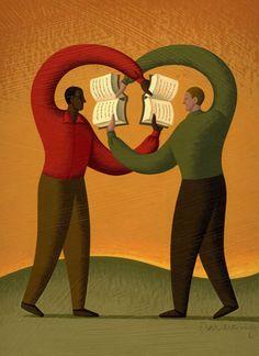 Sharing reading / Compartiendo la lectura (ilustración de Adam Niklewicz)