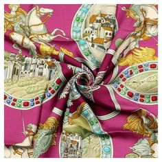 Pre-Owned  Hermes Paris Le Triomphe Du Paladin Silk Scarf Carre Julia... ($325) ❤ liked on Polyvore featuring accessories, scarves, silk scarves, hermès, silk shawl, hermes scarves and vintage scarves