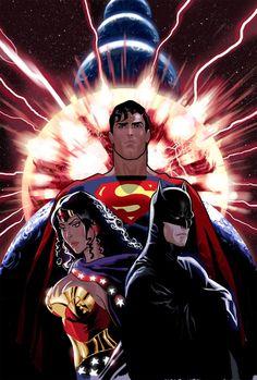 infinite crisis, wonder woman superman and batman-daniel acuna Héros Dc Comics, Dc Comics Characters, Fun Comics, Batman Wonder Woman, Teen Titans, Justice League, Batman Et Superman, Batman Art, Trinidad