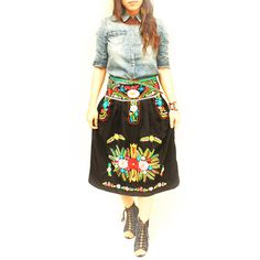 Noche Mexican Embroidered Dress Strapless Black Dress Convertible... ($198) ❤ liked on Polyvore featuring dresses, grey and women's clothing