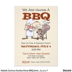 Stylish Cartoon Garden Party BBQ Invitation Custom pretty themed - Make your wedding day super special with these pink bridal and items Beach Theme Wedding Invitations, Gold Wedding Theme, Wedding Stationary, Stationary Items, Wedding Day, Bridal Invitations, Photo Invitations, Wedding Pins, Cartoon Garden