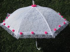 Girls Sun Parasol  White and Hot Pink  Lace  by PureReflections, $18.00