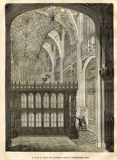"""Cassell's History - """"INTERIOR OF HENRY THE SEVENTH'S CHAPEL IN WETMINSTER ABBEY"""" - Engraving - 1858"""