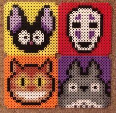 Perler Bead Templates, Perler Patterns, Bead Patterns, Cross Stitch Patterns, Perler Coasters, Collage Ideas, Totoro, Studio Ghibli, Perler Beads