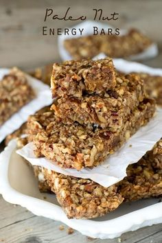 Paleo Nut Energy Bars {Healthy Snack Bar Recipe with Dates} Packed with nuts, dates and a hint of cinnamon, these Paleo Nut Energy Bars are great for an afternoon snack.