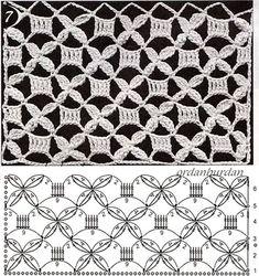 Crochet Stitches Chart, Crochet Motifs, Crochet Diagram, Crochet Squares, Filet Crochet, Knitting Stitches, Crochet Doilies, Crochet Lace, Knitting Patterns