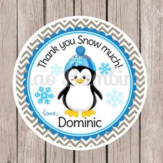 Set of 12 / Penguin Birthday Party Favor Tags or Stickers / Winter ONEderland / Winter Wonderland / Blue and Gray - 009