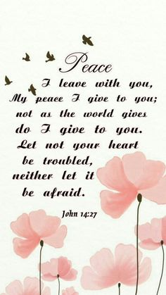 Peace I leave with you, peace I give to you; not as the world gives do I give to you. Let not your heart be troubled, neither let it be afraid John 14:27