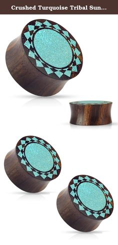 "Crushed Turquoise Tribal Sunburst Inlaid Organic Sono Wood Double Flared Saddle Ear Plugs Gauges - Sold As Pair (22mm - 7/8""). Crushed Turquoise Tribal Sunburst Inlaid Organic Sono Wood Double Flared Saddle Plugs. Please note that due to the Natural Textures of Organic Wood, Bone, and Horn, Each Plugs are Made to their Capacity and May be Oddly Shaped & patterned differently. We do our best to match up the two most alike. All Natural Organic Plugs and tapers are recommended for Healed..."