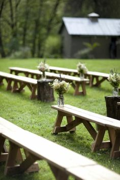 Rustic and simple, but pretty! Barn Wedding Ceremony Ideas - benches as a ceremony seating option Wedding Aisles, Wedding Ceremony Ideas, Wedding Aisle Decorations, Wedding Chairs, Outside Wedding, Farm Wedding, Wedding Decor, Wedding Photos, Diy Wedding Benches