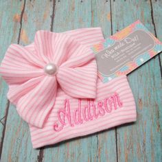Personalized Hospital Hat NEWBORN GIRL HAT Pink by WhomadeDatNola