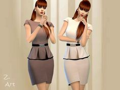 A peplum dress in elegant colors and shiny belt :D  Found in TSR Category 'Sims 4 Female Everyday'