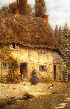 The Athenaeum - Surrey Farmhouse (Helen Allingham - ) Great Paintings, Beautiful Paintings, Farmhouse Paintings, Cottage Art, Medieval Life, Arte Horror, Oil Painting Reproductions, Farm Life, Farm House