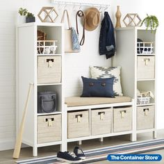Make an entryway that's destined to impress. Shop our website for organization solutions for every space in your home! Entryway Storage, Entryway Organization, Garage Solutions, Custom Shelving, Custom Closets, Container Store, Mudroom, Projects To Try, Bb