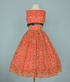 Vintage 1950s Party Dress...Darling Floral Print Chiffon by deomas, $165.00