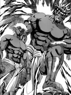 Agaard Jum Sai and his disciple, Tirawit Kōkin preparing for the battle against Apachai Hopachai and Shirahama Kenichi.