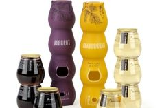 Wine bottles that are stacked stemless glasses. @Megan Hawkins would like this