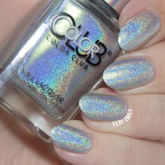 """Beautiful Holographic Glitter Polish by Color Club in the shade """"Just My Luck."""""""