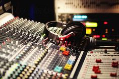 Buttons of a professional audio recording studio by rolfo