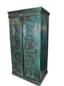 blue patina, indian wood cabinet / armoire