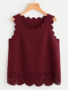Shop Scallop Edge Laser Cut Shell Top at ROMWE, discover more fashion styles online. Casual Tops For Women, Blouses For Women, Chic Outfits, Fashion Outfits, Moda Casual, Shell Tops, Crop Top Outfits, Blouse Designs, Fashion Looks