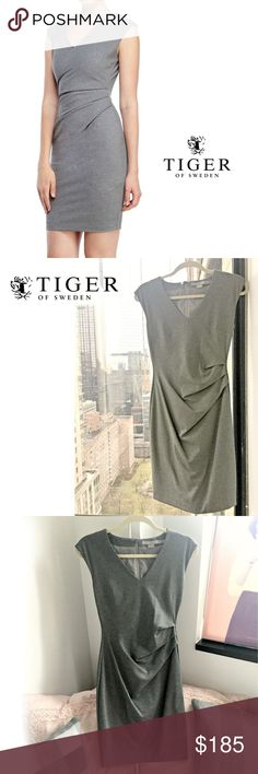 """NWOT Tiger of Sweden Nana Gray Sheath Dress NWOT. Gorgeous light stone gray dress with draping on the side from Tiger of Sweden, a company known for their exquisite tailoring. It really shows in this dress, which forms to the body perfectly. From a soft v neck in the front to the hidden zipper down the middle of the back, this is one of my favorite dress shapes. Sadly it is just too small on me so I have never worn it. Lined in matching color.  Size EU 34. Bust: 31.5"""", Waist: 25"""", Hip: 35""""…"""