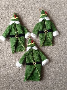AndreaD's Buddy the Elf Sweater & Hat Knitted Christmas Decorations, Knit Christmas Ornaments, Christmas Bunting, Crochet Ornaments, Christmas Elf, Holiday, Jumper Knitting Pattern, Loom Knitting, Christmas Knitting Patterns