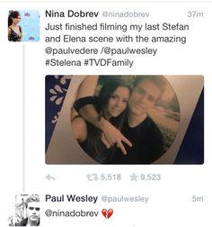 Nina Dobrev after last scene with Paul Wesley