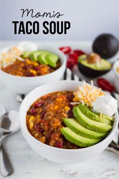 Mom's Taco Soup - a super easy main dish recipe where you throw all the ingredients in the pot and let it simmer. from www.thirtyhandmadedays.com