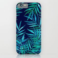 i phone cases : https://society6.com/product/watercolor-palm-leaves-on-navy_iphone-case?curator=2tanduk
