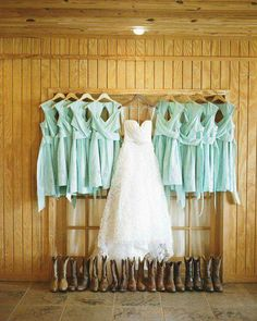 Bride's dress and bride's maids dresses with cowboy boots