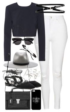 """Outfit with white jeans"" by ferned on Polyvore featuring Topshop, DKNY, Yves Saint Laurent, rag & bone, Banana Republic, Casetify and Tai"