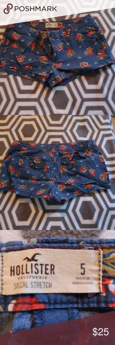 Hollister Floral Shorts Adorable hollister floral shorts in blue with red and light blue flowers. Size 5 (or size 27) in great condition. Hollister Shorts